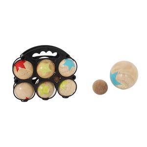 Panier 6 boules bois 6,6 cm + cochonnet 22x7x19 cm à partir de 5 ans 341442