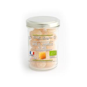 Bonbons bio en forme de boules fourrées au miel en pot de 150 g 341864