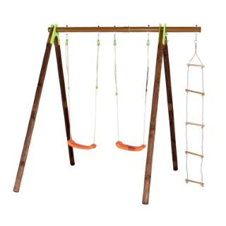 Portique avec 2 balançoires + echelle de corde TECHWOOD PREMIUM 342250