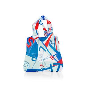 Sac mini maxi shopper collection motifs géométriques bleus et rouges 342372
