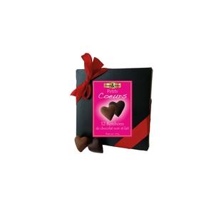 Coffret de cœurs au chocolat noir et lait bio de 110 g 342558