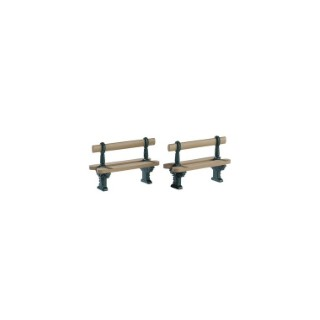 Bancs bois x 2 pour Village de Noël série Caddington 5,4x2,1x3,6 cm 344076