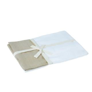 Nappe blanche et chamois en coton 150x250 cm 344385