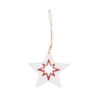 Étoile en bois blanc et rouge à suspendre avec étoile – 11 cm 349227