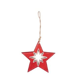 Étoile rouge en bois à suspendre avec sapin – 11 cm 349231