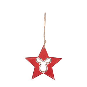 Étoile rouge en bois à suspendre avec renne – 11 cm 349233
