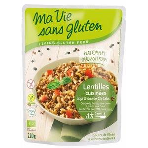 Repas de lentilles cuisinées et céréales bio en doypack de 220 g 351429