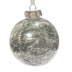 Boule en plastique avec lametta argentée à l'intérieur – Ø 8 cm 351452
