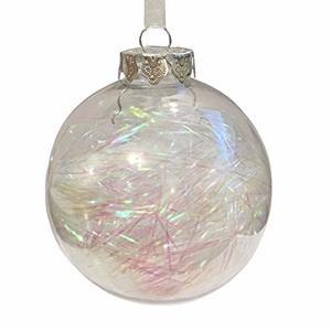 Boule en plastique avec lametta irisée à l'intérieur – Ø 8 cm 351454