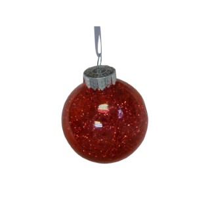 Boule en plastique avec lametta rouge à l'intérieur – Ø 8 cm 351455