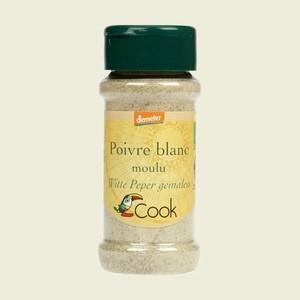 Poivre blanc en poudre bio dans un pot de 45 g 356588