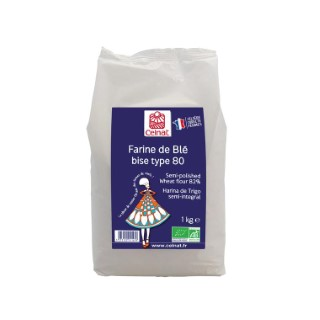 Farine de blé bise T80 bio en sachet de 1 kg 356878