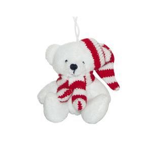 Peluche ours blanc écharpe bonnet rayé rouge 357377