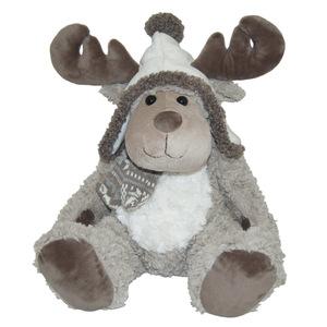Peluche renne avec chapeau et écharpe naturelle 357392