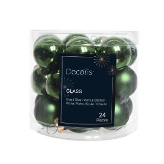 Boîte de 24 mini-boules en verre brillant-mat vert pin 357519