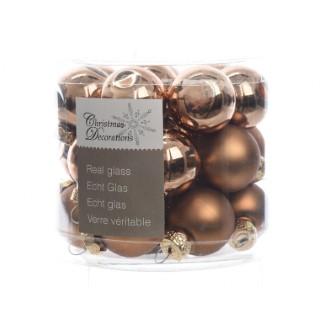 Boite de 24 mini-boules en verre brillant-mat suede brown 357521
