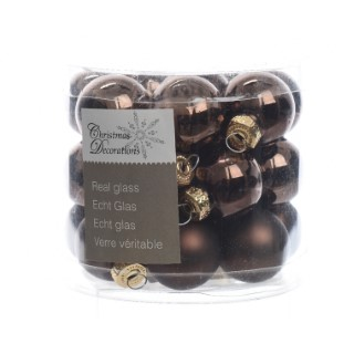 Boite de 24 mini-boules en verre brillant-mat dark chocolate 357523