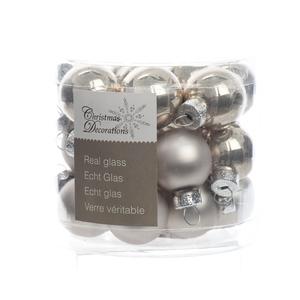 Boite de 24 mini-boules en verre email-mat natural linen 357524