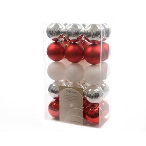 Boite de 30 Boules en plastique couleur gris rouge blanc - Ø 6 cm 357527