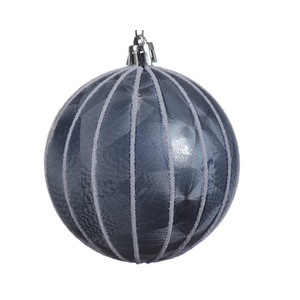 Boule déco plastique givrée bleue 357538