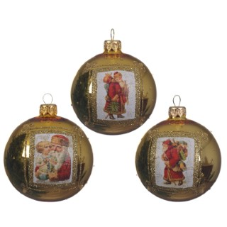 Boule déco père Noël or clair (disponible en 3 assortiments) 357544
