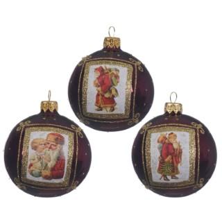 Boule déco père Noël bordeaux (disponible en 3 assortiments) 357545