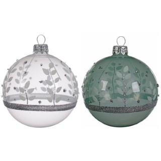 Boule déco feuilles 2 couleurs blanc/vert 357547
