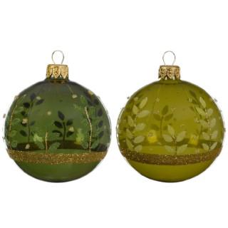 Boule déco feuilles vert bouteille/olive (disponible en 2 couleurs) 357548