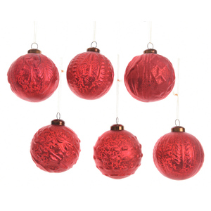 Boule de verre rouge Noël dans boite bois 357552