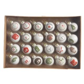 Boules de verre avent avec décalcomanies 357566