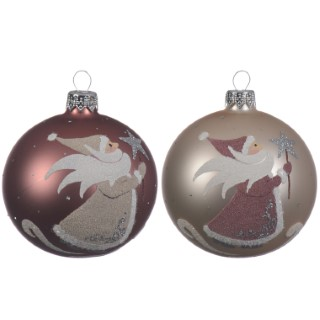 Boule déco père Noël rouge ou champagne 357598