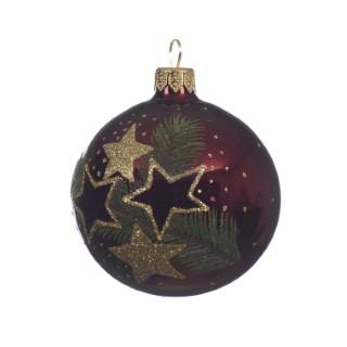 Boule déco sapin feuille/étoile bordeaux 357601