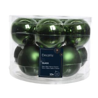 Boite de 10 boules unies brillant-mat vert pin 357607
