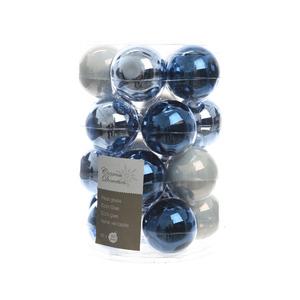 Boite de 20 Boules en verre couleur bleue et blanche - Ø 6 cm 357613