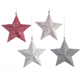 Étoile papier à suspendre rouges (disponible en 4 couleurs) 357641