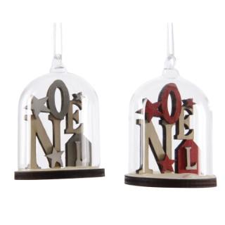 Noël bois dans cloche en verre 2 couleurs 357793