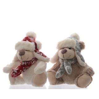 Ours en peluche blanc ou marron clair avec chapeau 15x25x20 cm 357800