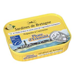 Sardines eckmuhl à l'huile d'olive et citron bio en boite de 135 g 358674
