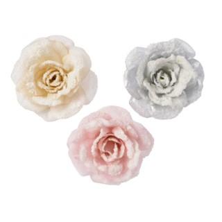 Rose polyester sur clip avec neige 360201