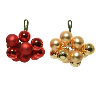 Boules en verre rouge et or – Ø2 cm 361920