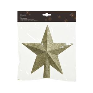 Cime étoile plastique pailletée couleur or clair - 19 cm de haut 364871