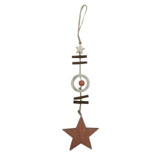 Figurine à suspendre étoile bois 366281