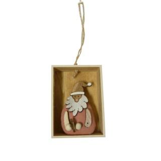 Figurine à suspendre père Noël rose 366285
