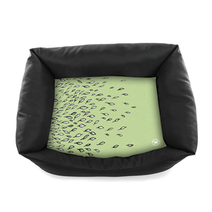 Corbeille pour chien Domino motif feuille vert T90 366607