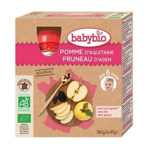 Gourde de fruits pomme d'Aquitaine et pruneau d'Agen Babybio 4 x 90 g 371319