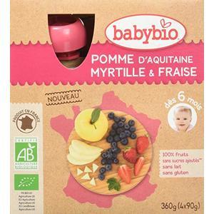 Gourde de fruits pomme d'Aquitaine myrtille et fraise Babybio 4 x 90 g 371320