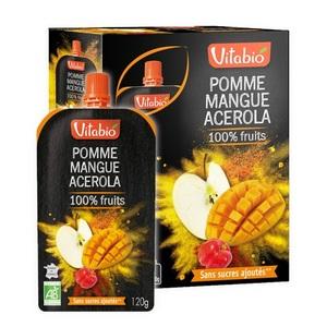 Gourde de fruits pomme mangue et acérola Vitabio 4 x 120 g 371339