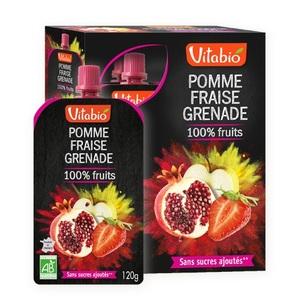 Gourde de fruits pomme fraise et grenade Vitabio 4 x 120 g 371342