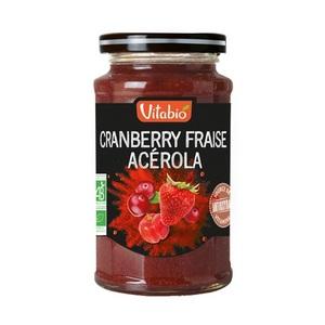 Confiture cranberry fraise et acérola Vitabio pot en verre de 290 g 371348