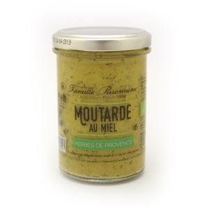Moutarde au miel et aux herbes de Provence en pot de verre de 210 g 373780